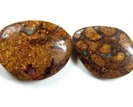 PAIR  TWO BOULDER OPAL 71 CTS  MM 1303