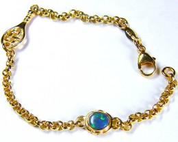 18K GOLD 7.9 GRAM TENNIS  BRACELET BLACK OPAL CJ1068