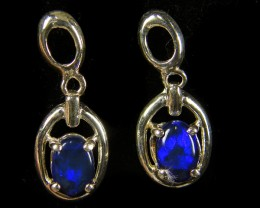 BRIGHT BLUE DOUBLET SWING SILVER EARRINGS     CJ 449