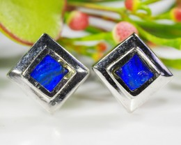 SQUARE INLAY  OPAL SILVER EARRINGS     CJ 457