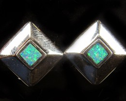 OPAL INLAY 18K WHITE GOLD EARRINGS DESIGN  CJ 568