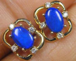 DIAMOND N DOUBLET OPAL 14K GOLD EARRINGS  1 CTS  MYG 41