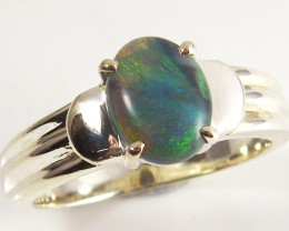 SOLID BLACK OPAL  STERLING SILVER RING SIZE  7.5 SCA 1560