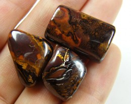 PARCEL THREE BOULDER OPAL  BEAD  71 CTS  MM 1485