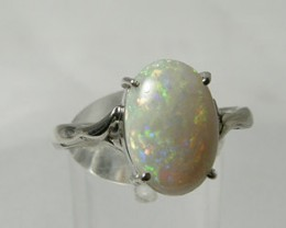 RED CRYSTAL OPAL SET IN 18CT WHITE GOLD - 4.00g - #OA710976