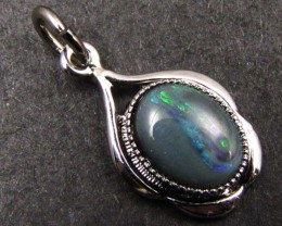 GENUINE SOLID  OPAL 10X8MM   SILVER  PENDANT  GOA 102