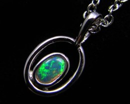 BEAUTIFUL CRYSTAL  OPAL 18K  WHITE GOLD PENDANT CJ 478