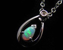 DIAMOND AND  CRYSTAL  OPAL 18K  WHITE GOLD PENDANT CJ 480