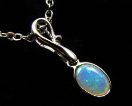 BEAUTIFUL CRYSTAL  OPAL 18K  WHITE GOLD PENDANT CJ 483