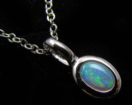 BEAUTIFUL CRYSTAL  OPAL 18K  WHITE GOLD PENDANT CJ 485