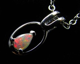BEAUTIFUL CRYSTAL  OPAL 18K  WHITE GOLD PENDANT CJ 498