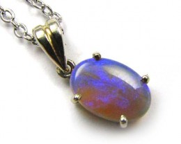 BEAUTIFUL CRYSTAL  OPAL 18K  WHITE GOLD PENDANT CJ 518