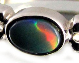 RED FLASH BLACK  OPAL 18K  WHITE GOLD RING SIZE 7  CJ 833