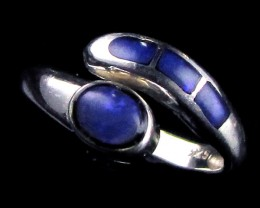 BLUE INLAY  SILVER RING   7.5 SIZE   CJ 856