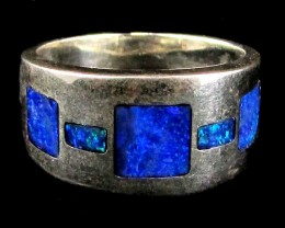 MENS INLAY  SILVER RING  8  SIZE   CJ 859