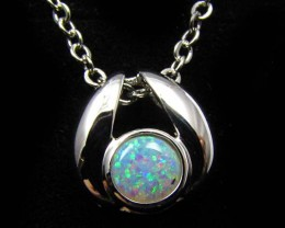 CRYSTAL  OPAL 18K  WHITE GOLD PENDANT  CJ 886