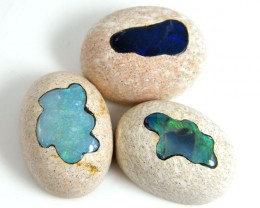 PARCEL THREE CABOCHON OPAL INLAY STONES  33CARATS  Goa 332