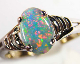 MULTI FIRE   OPAL 18K WHITE  GOLD RING SIZE  7 CJ 1005