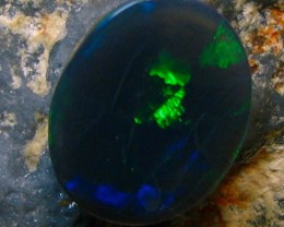 BLACK OPAL LIGHTNING RIDGE 1.40 CTS INTERESTING GREEN FIRE A4132