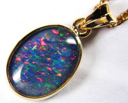GEM OPAL  TRIPLET SET IN 9 K GOLD PENDANT K161