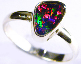 GEM RED BOULDER OPAL   SILVER RING SIZE 9.5  CJ 1105
