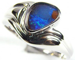GREEN FREEFORM BOULDER OPAL   SILVER RING SIZE  8 CJ 1109