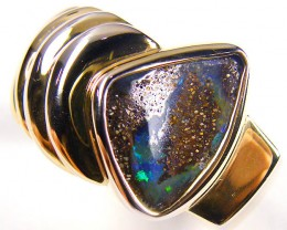 BOULDER OPAL GOLD PLATED  SILVER RING SIZE 12  CJ 1111