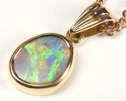 GEM CRYSTAL  OPAL 18K  GOLD PENDANT CJ 1141