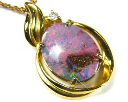 DIAMOND N BOULDER  OPAL 18K  GOLD PENDANT CJ 1146