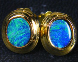 LARGE DOUBLET   OPAL 18K  GOLD EARRING CJ 1147