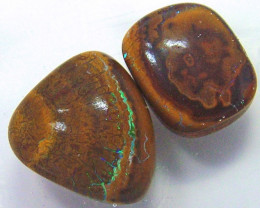 20.80 cts BOULDER OPAL CUT STONE 2pc Parcel   AS5872