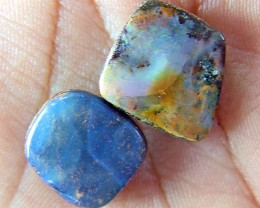 BOULDER OPAL CUT STONE DRILLED 2pc Parcel  21.70 cts  AS5889