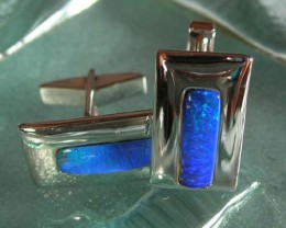 925 SILVER OPAL INLAY CUFFLINKS oej153
