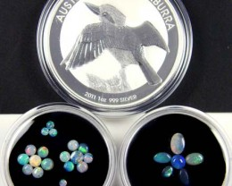 2011 TREASURES OPAL & KOOKABURRA SILVER COIN SERIES 5-100