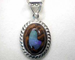 NEW LARGE OPAL ART SILVER PENDANT L2408