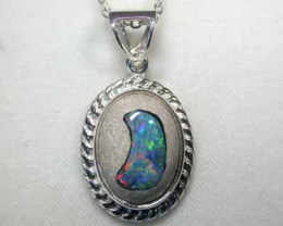 NEW LARGE OPAL ART SILVER PENDANT L2411
