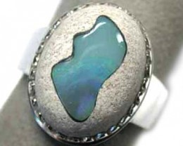 NEW LARGE OPAL ART SILVER RING SIZE 10 1/2 L2419