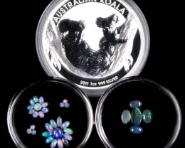 2011 TREASURES OPAL & KOALA  SILVER COIN SERIES  6-100