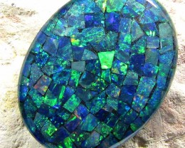 LARGE GEM MOSAIC OPAL OVAL  SHAPE 30.50 CTS    JO 1647
