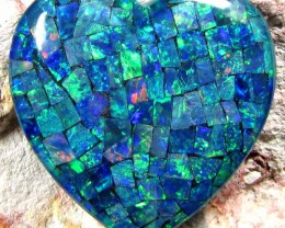 GEM MOSAIC OPAL MEDIUM  HEART   SHAPE 39 CTS    JO 1671
