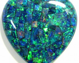 GEM MOSAIC OPAL MEDIUM  HEART   SHAPE 39 CTS    JO 1672