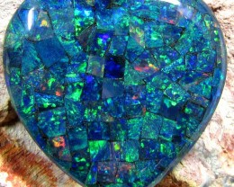 GEM MOSAIC OPAL MEDIUM  HEART   SHAPE 39 CTS    JO 1675
