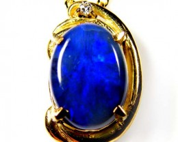 Black Opal set with Diamenties 18k Gold Pendant SCO85