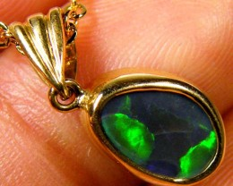 Multi Colour Fire Solid Black Opal 18K Gold Pendant SC79