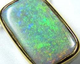 Sea Green Fire Flash Black Opal 18K Pendant SCO59