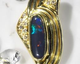 Solid Black Opal Multi Colour Flash Gold Pendant SCO65