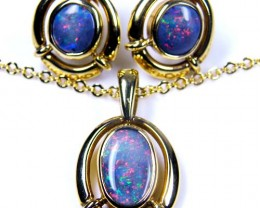 RED FIRE BLACK OPAL PENDANT AND EARRING SET SCO 323
