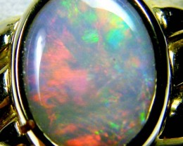 RAINBOW FLASH BLACK OPAL 18K YELOW GOLD RING SIZE 7.5 CJ1685