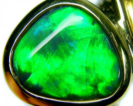FIRERY GREEN!! BLACK OPAL 18K GOLD RING SIZE 6.5 CJ1689