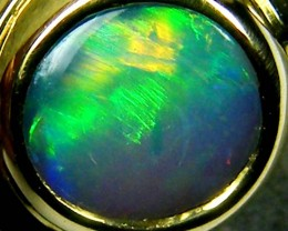FIRERY BLACK OPAL 18K YELLOW GOLD RING SIZE 6 CJ1691